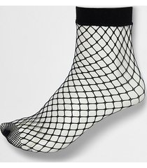 river island womens black wide fishnet ankle socks