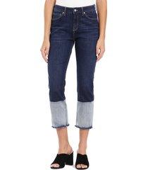 women's mavi jeans niki colorblock fray hem crop jeans