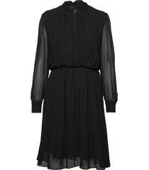 georgette ruffle dress jurk knielengte zwart calvin klein