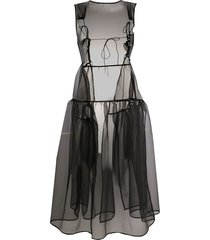cecilie bahnsen sheer flared midi dress - black