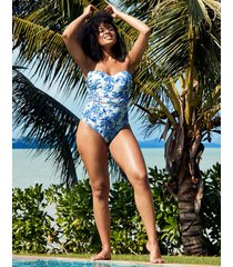 toulouse mindful underwire bandeau strapless tummy control one-piece swimsuit b-g