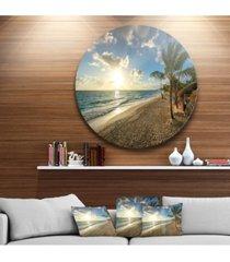 "designart 'beautiful caribbean vacation beach' disc large beach large metal circle wall art - 23"" x 23"""