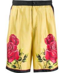 dolce & gabbana rose print shorts - yellow
