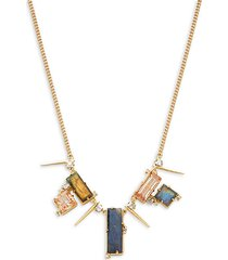 10k goldplated & multi-stone geometric bib necklace
