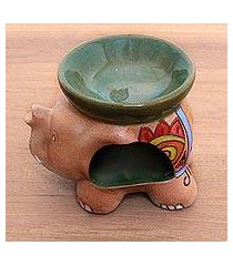 ceramic oil warmer, 'tribal elephant' (indonesia)