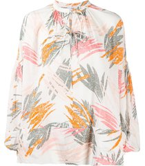 closed oversized tie-neck blouse - white