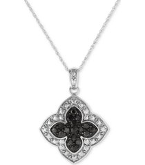 """black diamond clover 18"""" pendant necklace (1/4 ct. t.w.) in sterling silver"""