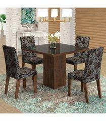 mesa de jantar 4 lugares geisa venus dover/cobre/preto - viero móveis