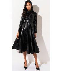 akira drop it low vegan leather midi dress
