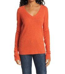 women's atm anthony thomas melillo cashmere v-neck sweater, size x-large - orange
