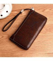 uomo business casual zipper lungo portafoglio phone borsa frizione borsa