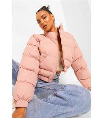 crop puffer jacket, dusky pink