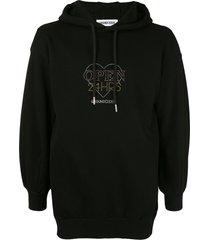 ground zero rhinestone logo hoodie - black