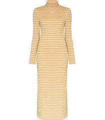 loewe striped turtleneck dress - brown