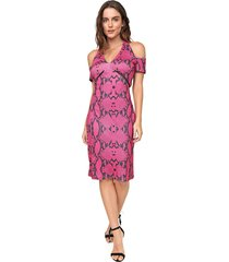 vestido ciganinha my favorite thing(s) midi cobra rosa/preto - kanui