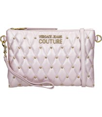 versace jeans couture clutch in viola leather
