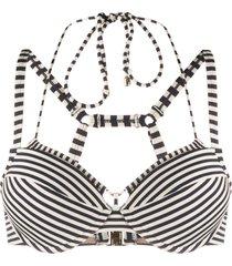 marlies dekkers striped push-up bikini top - blue