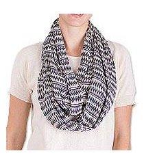 cotton infinity scarf, 'crisp morning' (guatemala)