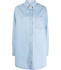 12 storeez long-sleeve denim dress - blue