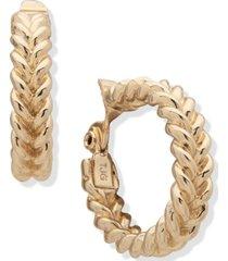 """anne klein gold-tone medium braided clip-on hoop earrings, 1.1"""""""