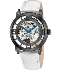 stuhrling original stainless steel gunmetal gray case on white alligator embossed genuine leather strap, gunmetal dial, with blue accents