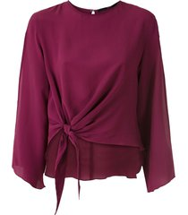 eva tie-waist silk blouse - red