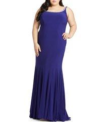 mac duggal women's plus jersey corset trumpet gown - royal purple - size 18w
