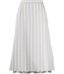 thom browne vertical-stripe a-line skirt - grey