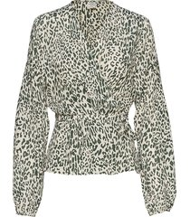 monia blouse lange mouwen multi/patroon baum und pferdgarten
