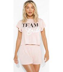 team bride pyjama set met shorts en mouw franjes, blush