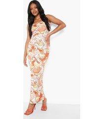 petite retro maxi jurk met lage ronde hals, orange