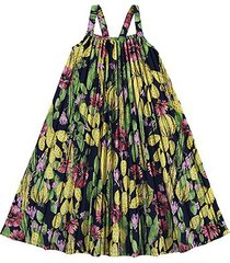 vestido infantil nanai cetim fosco plissado