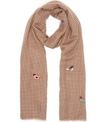 bird embroidered houndstooth scarf
