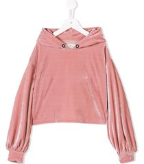 andorine velvet hooded crop top - pink