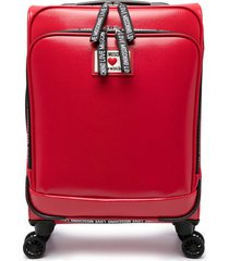 love moschino 4 wheel faux leather suitcase - red