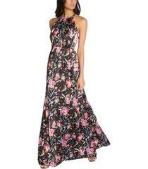 aidan by aidan mattox floral-print tiered halter maxi dress