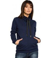 sweater be b055 sweater met dubbele kraag - marineblauw