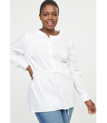 lane bryant women's cinched-waist poplin tunic top 16 white