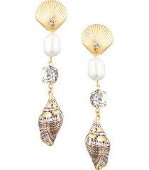 marin 8mm-10mm freshwater pearl, crystal & shell drop earrings