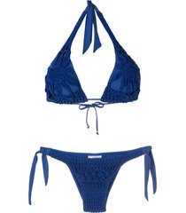 amir slama embroidered triangle bikini set - blue