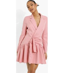 gedrappeerde blazer jurk met franjes, rose