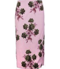 blumarine pink midi skirt with slit and roses print