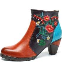 socofy retro stivaletti alla caviglia in pelle ricamati in fiori