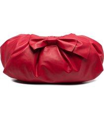 red(v) large bow clutch bag