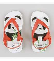 chinelo infantil havaianas urso panda com elástico branco