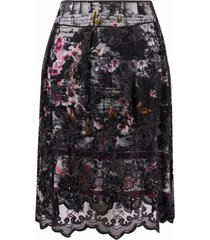 a.n.g.e.l.o. vintage cult 1990s floral lace a-line skirt - black