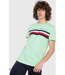 camiseta verde-multicolor tommy hilfiger