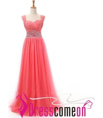 coral tulle a line straps long evening prom dress,celebrity dresses,party gown