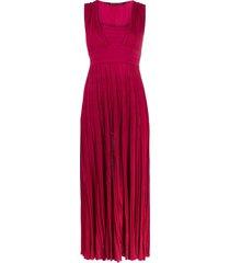 antonino valenti square-neck pleated dress - pink