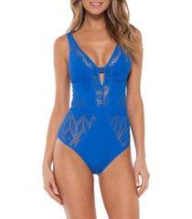 women's becca wanderlust one-piece swimsuit, size small - blue